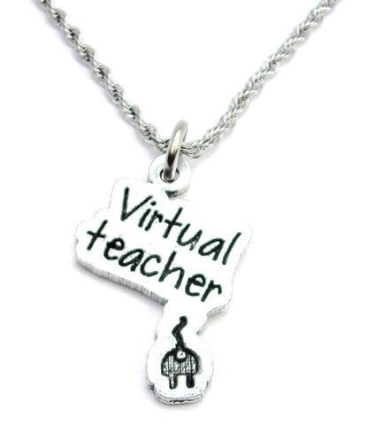 Virtual Teacher Stainless Steel Rope Chain Necklace