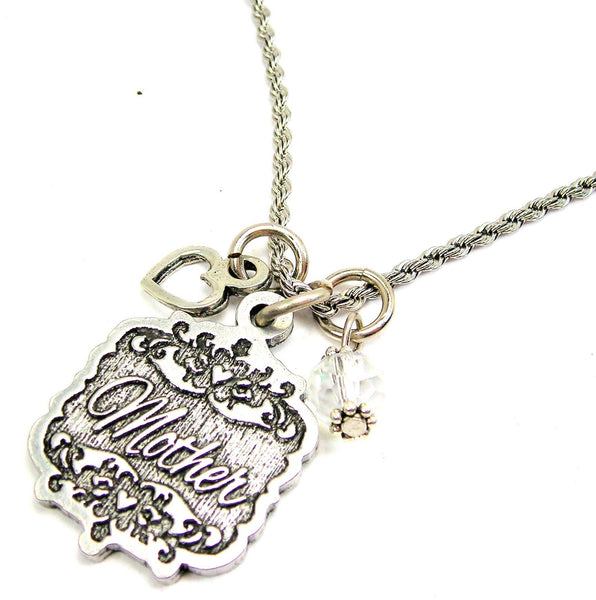 "Mother Victorian Scroll With Open Heart And Crystal 20"" Stainless Steel Rope Necklace"
