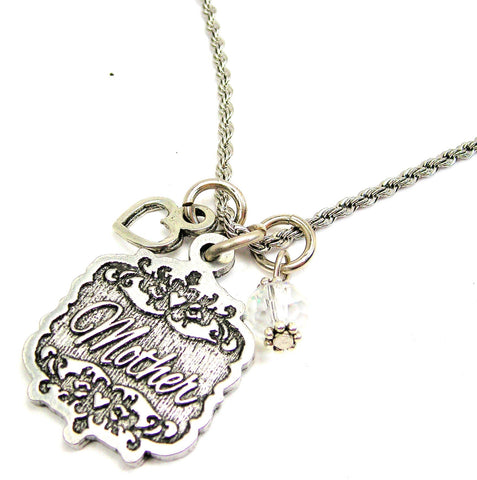 "Mother Victorian Scroll With With Open Heart And Crystal 20"" Stainless Steel Rope Necklace"