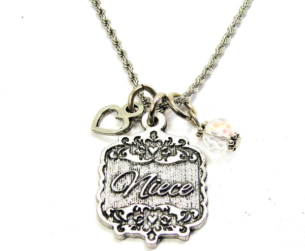 "Niece Victorian Scroll With Open Heart And Crystal 20"" Stainless Steel Rope Necklace"