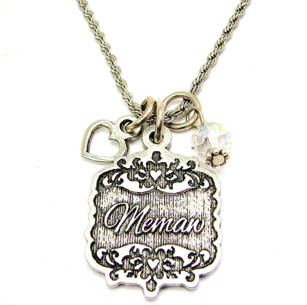 "Memaw Victorian Scroll With Open Heart And Crystal 20"" Stainless Steel Rope Necklace"