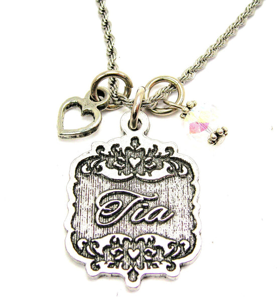 "Tia Victorian Scroll With Open Heart And Crystal 20"" Stainless Steel Rope Necklace"