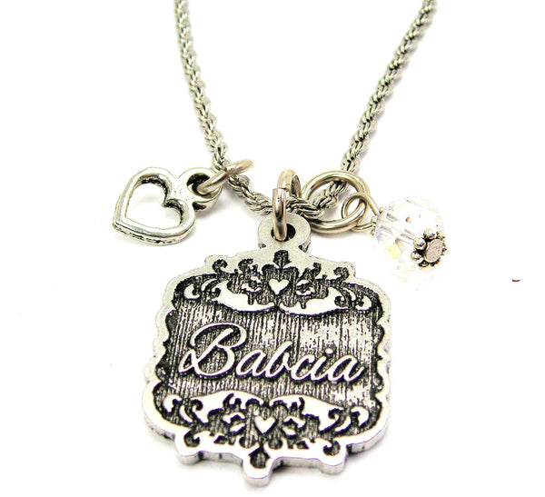 "Babcia Victorian Scroll With Open Heart And Crystal 20"" Stainless Steel Rope Necklace"
