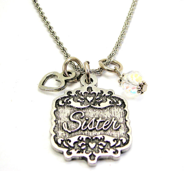 "Sister Victorian Scroll With With Open Heart And Crystal 20"" Stainless Steel Rope Necklace"