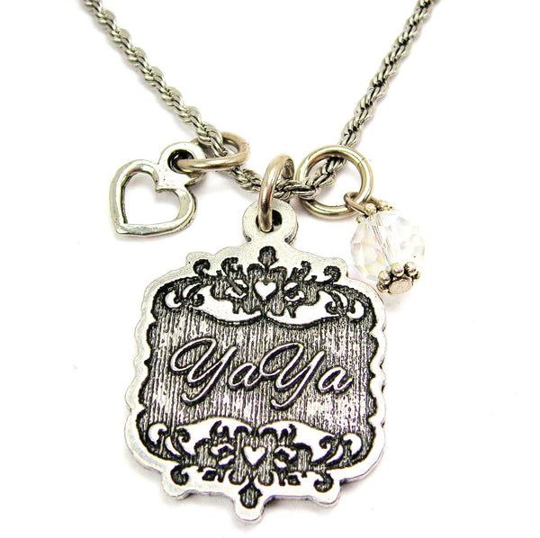 "YaYa Victorian Scroll With With Open Heart And Crystal 20"" Stainless Steel Rope Necklace"