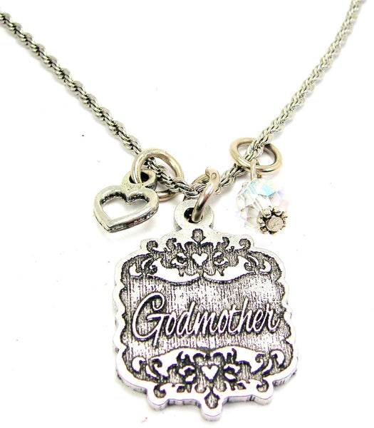 "Godmother Victorian Scroll With With Open Heart And Crystal 20"" Stainless Steel Rope Necklace"