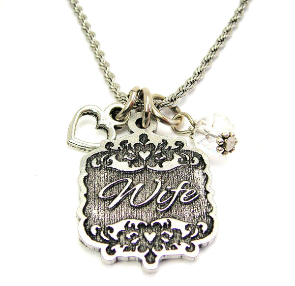 "Wife Victorian Scroll With With Open Heart And Crystal 20"" Stainless Steel Rope Necklace"