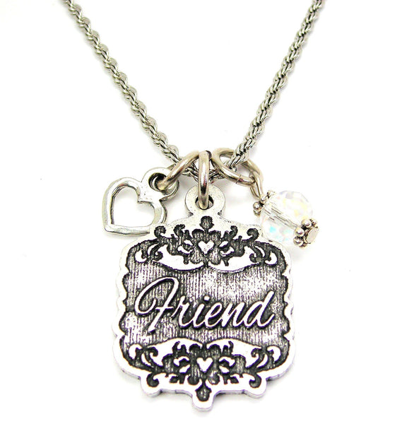 "Friend Victorian Scroll With With Open Heart And Crystal 20"" Stainless Steel Rope Necklace"