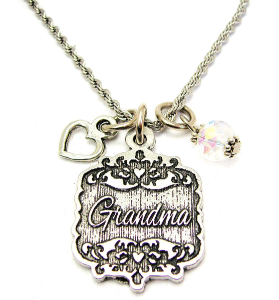 "Grandma Victorian Scroll With Open Heart And Crystal 20"" Stainless Steel Rope Necklace"