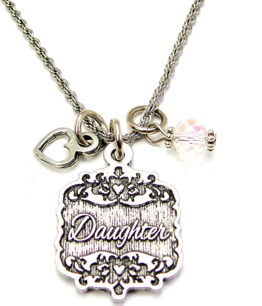 "Daughter Victorian Scroll With Open Heart And Crystal 20"" Stainless Steel Rope Necklace"