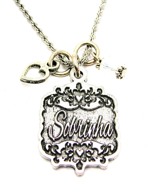 "Sobrinha Victorian Scroll With Open Heart And Crystal 20"" Stainless Steel Rope Necklace"