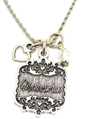 "Mother-In-Law Victorian Scroll With Open Heart And Crystal 20"" Stainless Steel Rope Necklace"