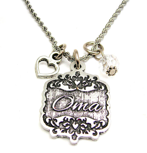 "Oma Victorian Scroll With With Open Heart And Crystal 20"" Stainless Steel Rope Necklace"