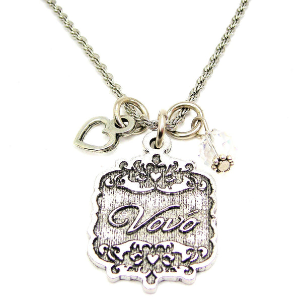 "Vovo Victorian Scroll With Open Heart And Crystal 20"" Stainless Steel Rope Necklace"