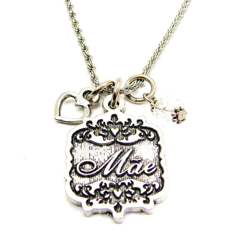 "Mae Victorian Scroll With Open Heart And Crystal 20"" Stainless Steel Rope Necklace"
