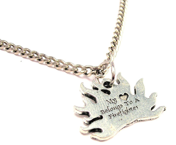 My Heart Belongs To A Firefighter Single Charm Necklace