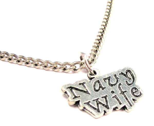 Navy Wife Single Charm Necklace
