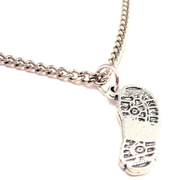 Combat Boot Print Single Charm Necklace