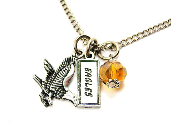 Eagle With Eagles Tab Necklace With Crystal Accent