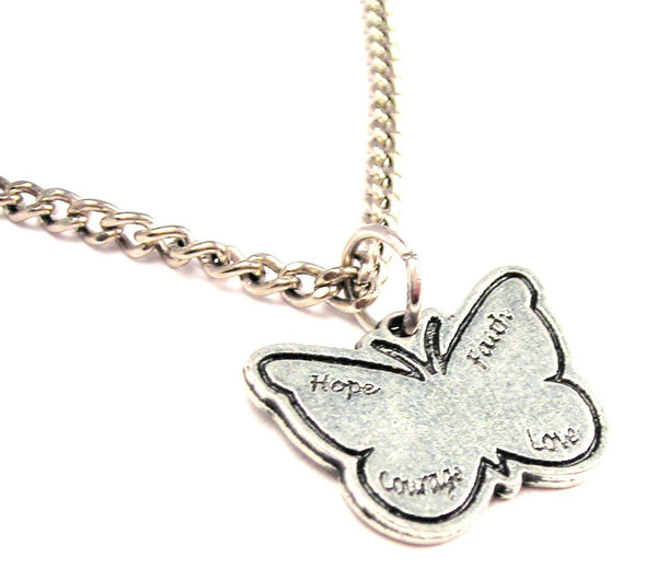 Hope Faith Courage Love Butterfly Single Charm Necklace