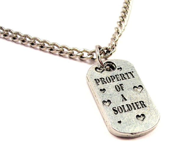 Property Of A Solider Single Charm Necklace