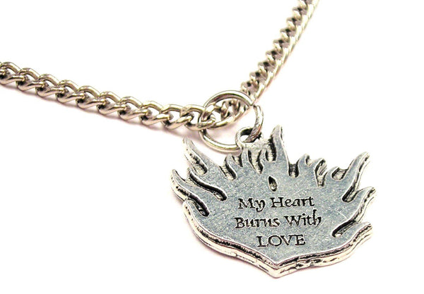 My Heart Burns With Love Single Charm Necklace