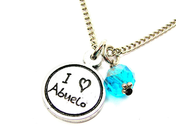 I Love Abuelo Child Handwriting Necklace With Crystal Accent
