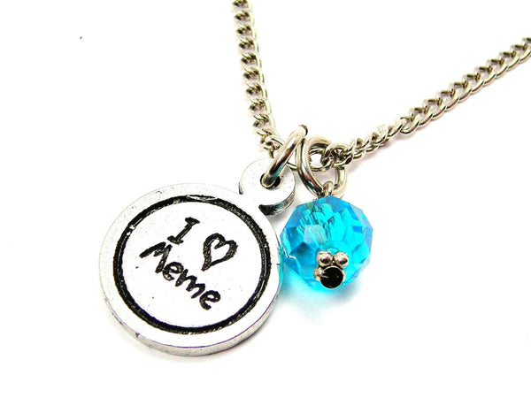I Love Meme Child Handwriting Necklace With Crystal Accent