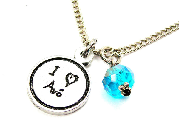 I Love Avó Grandmother Child Handwriting Necklace With Crystal Accent