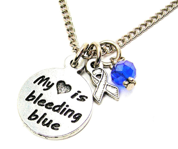 My Heart is Bleeding Blue with Awareness Ribbon Necklace