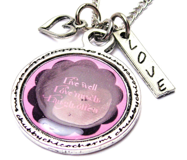 Live Well Love Much Laugh Often Framed Necklace