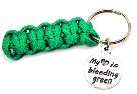 My Heart is Bleeding Green Paracord 550 Military Spec Paracord Key Chain