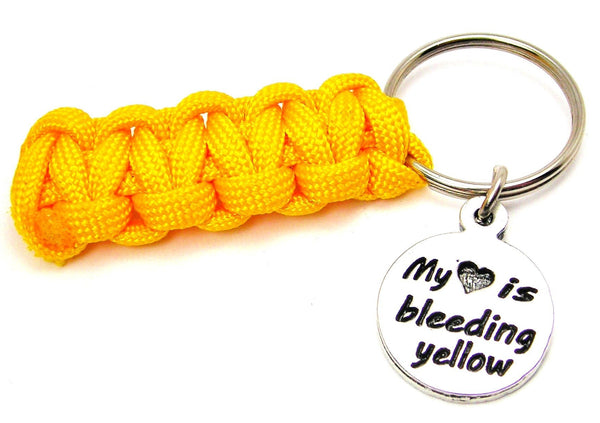 My Heart is Bleeding Yellow Paracord 550 Military Spec Paracord Key Chain