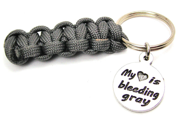 My Heart is Bleeding Gray Paracord 550 Military Spec Paracord Key Chain