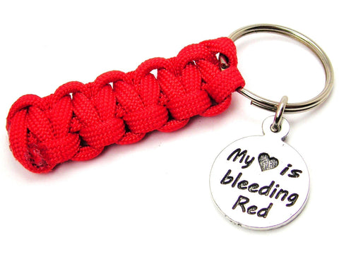 My Heart is Bleeding Red Paracord 550 Military Spec Paracord Key Chain