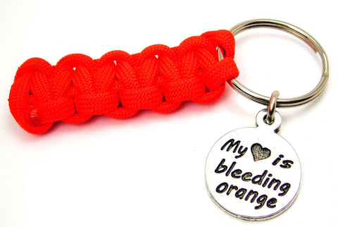 My Heart is Bleeding Orange Paracord 550 Military Spec Paracord Key Chain