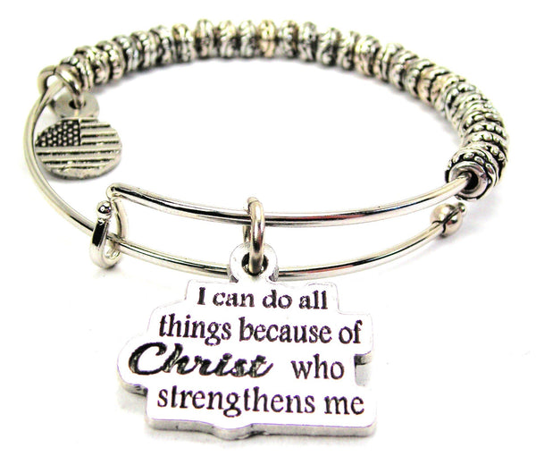 Christ Strength Catalog Metal Beaded Bangle