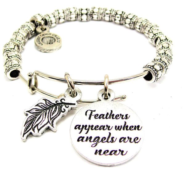 Feathers Appear When Angels Are Near Catalog Metal Beaded Bangle