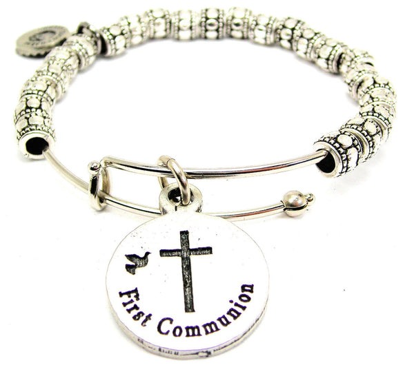 First Communion Catalog Metal Beaded Bangle