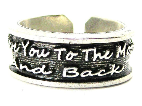 I Love You To The Moon And Back Sterling Silver Plated Unisex Cuff Ring