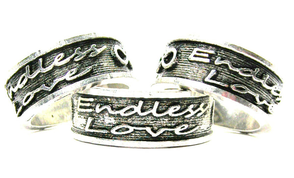 Endless Love With Infinity Symbol Sterling Silver Plated Unisex Cuff Ring