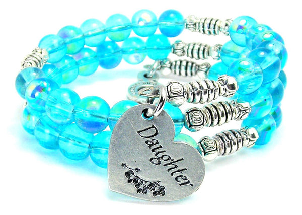 Daughter Heart Sea Siren Ocean Glass Wrap Bracelet