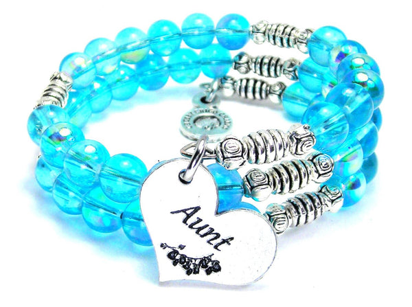 Aunt Heart Sea Siren Ocean Glass Wrap Bracelet