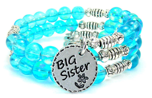 Big Sister Sea Siren Ocean Glass Wrap Bracelet