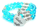 Sister Heart Sea Siren Ocean Glass Wrap Bracelet