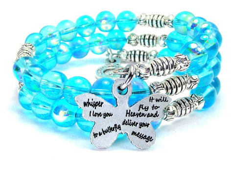 Whisper I Love You To A Butterfly Sea Siren Ocean Glass Wrap Bracelet