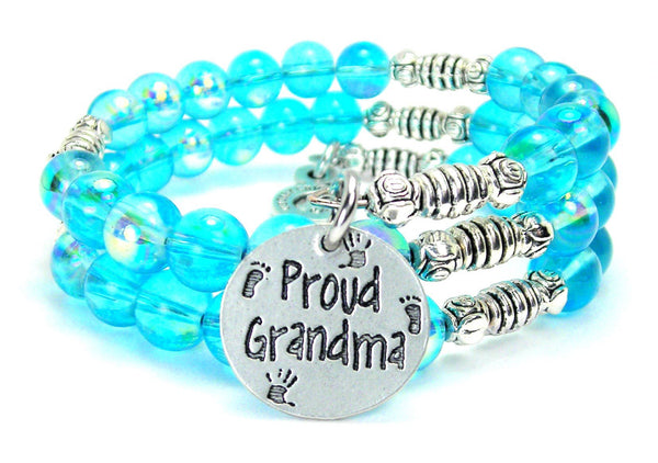 Proud Grandma Sea Siren Ocean Glass Wrap Bracelet
