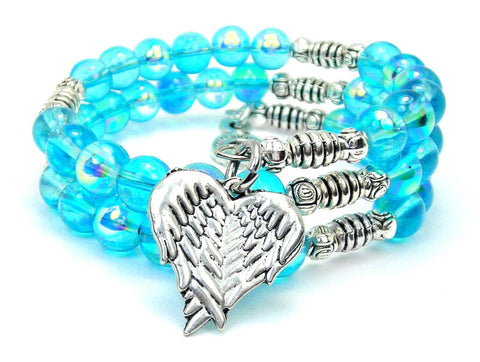 Folded Angel Wings Sea Siren Ocean Glass Wrap Bracelet