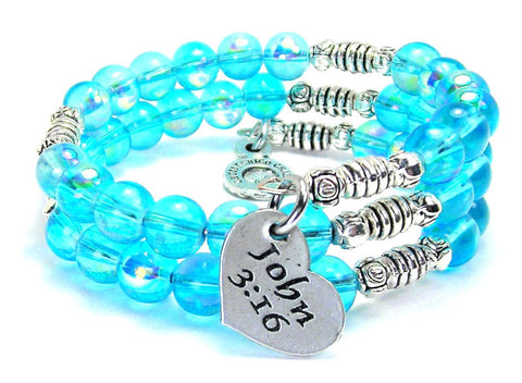 John 3:16 Sea Siren Ocean Glass Wrap Bracelet
