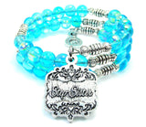 Step Sister Victorian Scroll Sea Siren Ocean Glass Wrap Bracelet